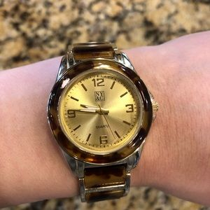 NY&C Gold and Tortoise Watch